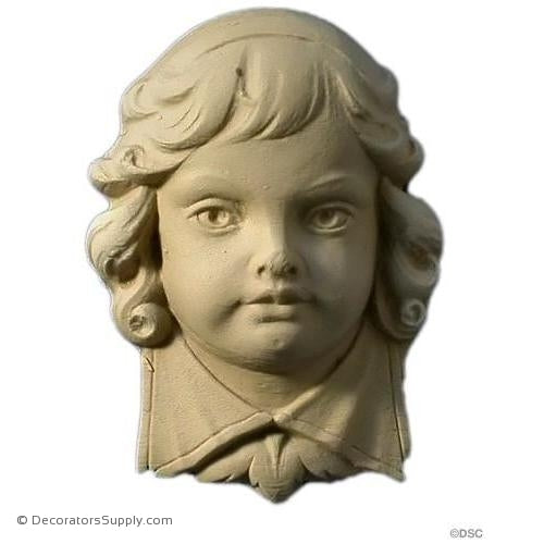 Face-Boy's Head 3 7/8H X 2 3/4W - 1 5/16Relief-historic-carving-library-victorian-styles-Decorators Supply