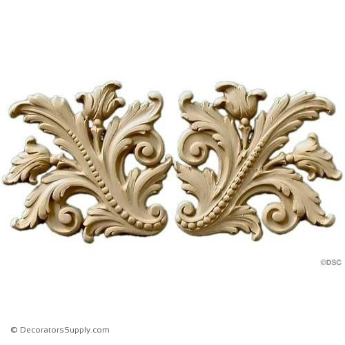 Leafy Scrolls - 4 3/4 Wide x 4 3/4 High-ornaments-furniture-woodwork-Decorators Supply