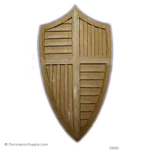 Gothic Shield - 10 1/2H X 5 3/4W - 1/4Relief-furniture-woodwork-ornaments-Decorators Supply