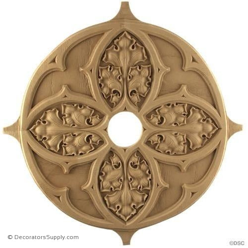 Gothic Ivy Rosette - 13 1/2Diameter - 1/4Relief-woodwork-furniture-ornaments-Decorators Supply