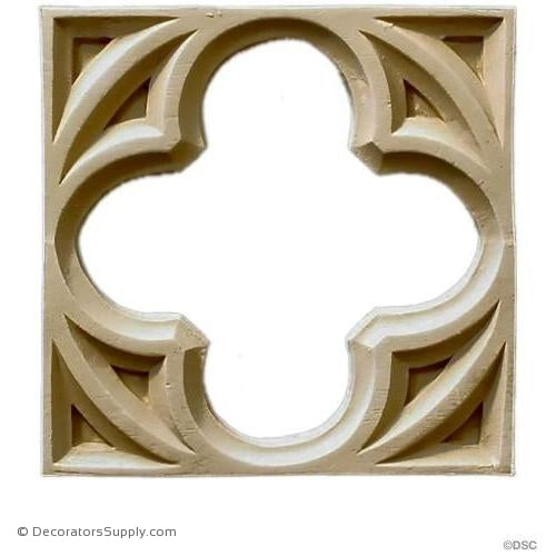 Rosette Square Gothic 6 3/4H X 6 3/4W - 3/8Relief-ornaments-for-woodwork-furniture-Decorators Supply
