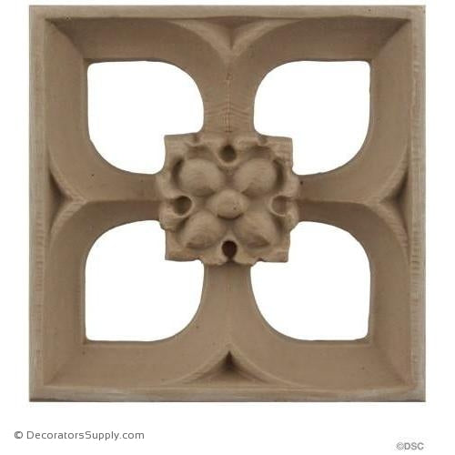 Rosette - Trefoil - Gothic 5H X 5W - 3/4Relief-ornaments-for-woodwork-furniture-Decorators Supply
