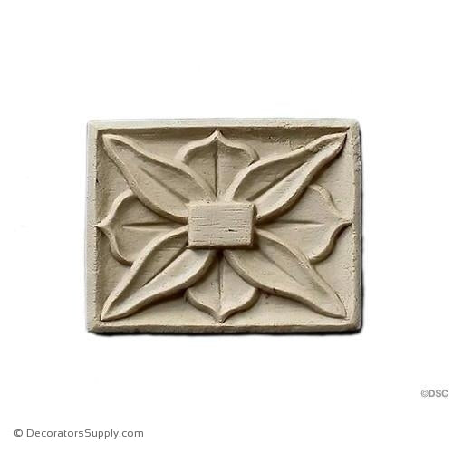 Rosette - Rectangular 2 1/4 High 1 3/4 Wide-ornaments-for-woodwork-furniture-Decorators Supply