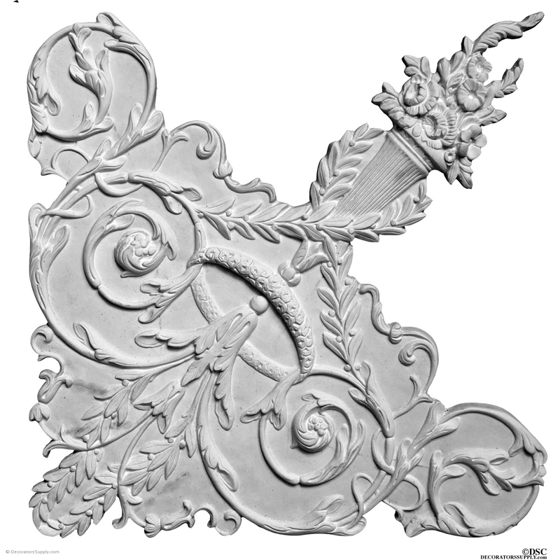 "Plaster Corner-LouisXVI-27"" X 27""-3/4"" Relief-ceiling-ornament-Decorators Supply"
