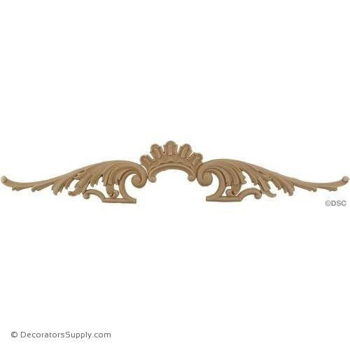Leafy Scroll Design - 3 3/4 High 21 1/2 Wide-ornaments-for-woodwork-furniture-Decorators Supply