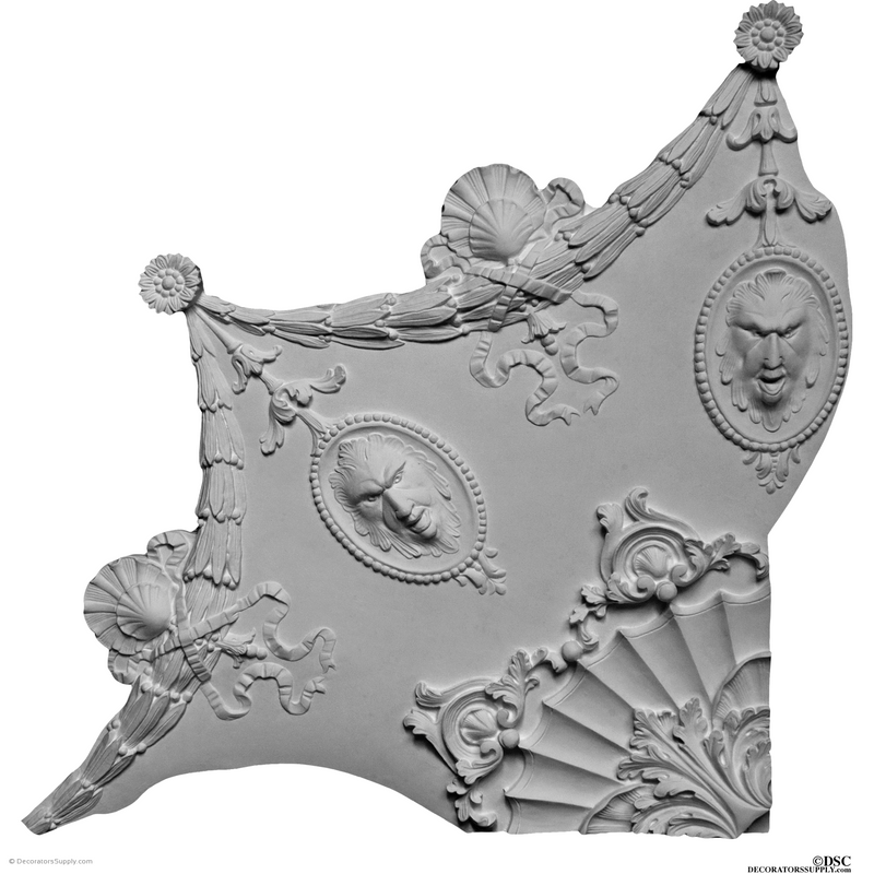 "Plaster Medallion-French78"" Diameter X 2"" Relief - 4 Pcs-ceiling-ornament-Decorators Supply"