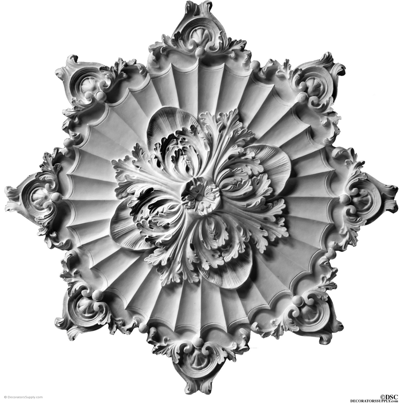 "Plaster Medallion-French-36"" Diameter X 1 1/2"" Relief-ceiling-ornament-Decorators Supply"