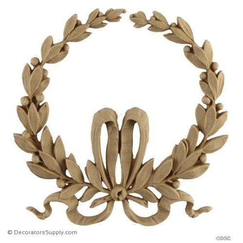 Wreath-Louis XVI 5 1/4H X 5 1/8W - 1/4Relief-ornaments-for-woodwork-furniture-Decorators Supply