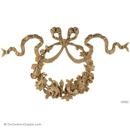 Wreath-Mod. Ren. 9 1/4H X 15W - 3/4Relief-ornaments-for-woodwork-furniture-Decorators Supply