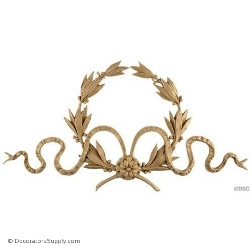Wreath-Louis XVI 9 1/4H X 18W - 9/16Relief-ornaments-for-woodwork-furniture-Decorators Supply