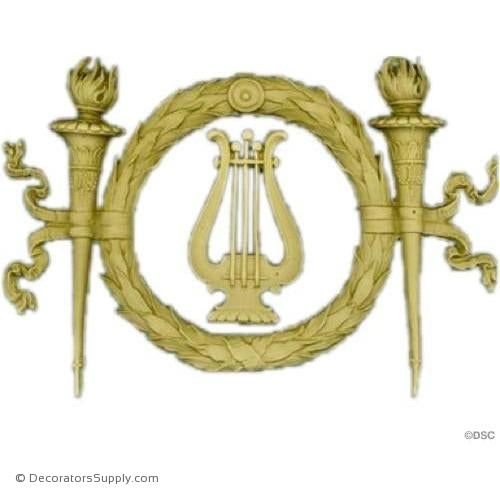Wreath w/Harp-Louis XVI 6 1/4H X 9 1/2W - 9/16Relief-ornaments-for-woodwork-furniture-Decorators Supply