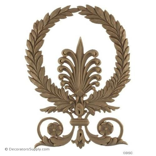 Wreath-Empire 8H X 5 1/2W - 3/16Relief-ornaments-for-woodwork-furniture-Decorators Supply