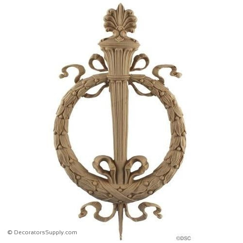 Wreath with Torch - Empire 13H X 7 1/4W - 5/8Relief-ornaments-for-woodwork-furniture-Decorators Supply