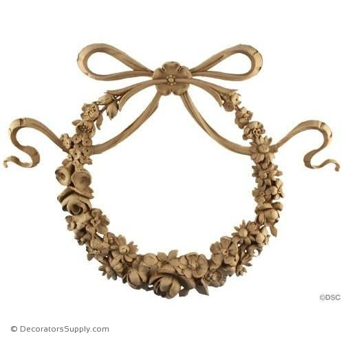 Floral Wreath - Mod. Ren. 12 1/2H X 16W - 3/4Relief-ornaments-for-woodwork-furniture-Decorators Supply