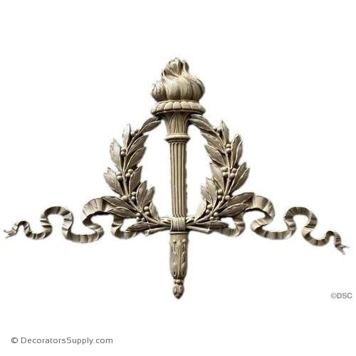Wreath with Torch - Louis XVI 14 1/2H X 20W - 7/8Relief-ornaments-for-woodwork-furniture-Decorators Supply