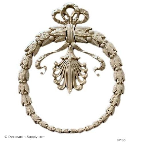 Wreath-Empire 13 3/4H X 11 1/2W - 3/4Relief-ornaments-for-woodwork-furniture-Decorators Supply