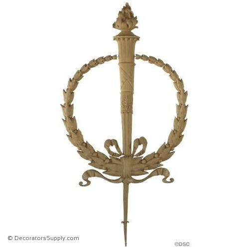 Wreath with Torch - Empire 29 1/2H X 15 1/4W - 3/4Relief-ornaments-for-woodwork-furniture-Decorators Supply