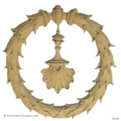 Wreath with Shell - Ital. Ren. 9 1/2H X 9 3/4W - 1/2Relief-ornaments-for-woodwork-furniture-Decorators Supply