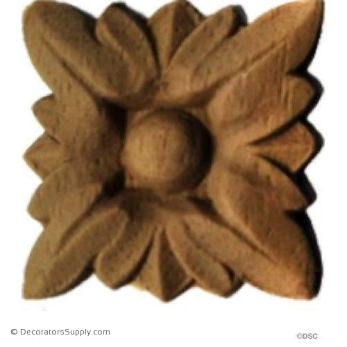 Rosette - Square 1 High 1 Wide-ornaments-for-woodwork-furniture-Decorators Supply