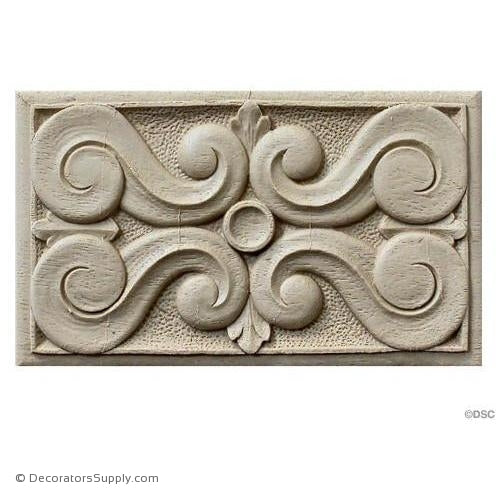 Rosette - Rectangular 5 5/8 High 3 3/8 Wide-ornaments-for-woodwork-furniture-Decorators Supply