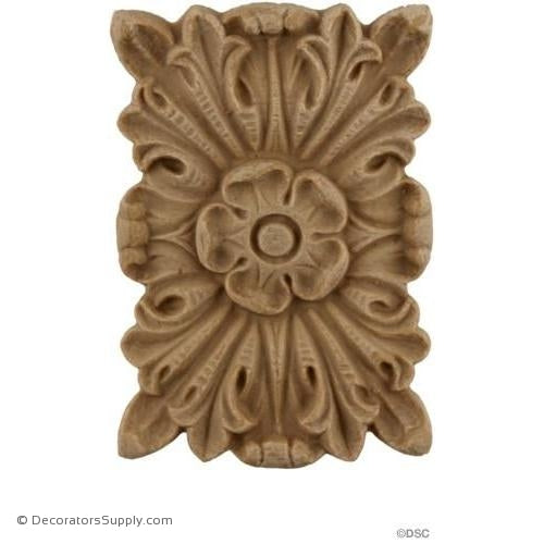 Rosette - Rectangular 2 1/2 High 1 3/4 Wide-ornaments-for-woodwork-furniture-Decorators Supply