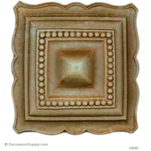 Square Rosette - 3 3/8 in. width-ornaments-for-woodwork-furniture-Decorators Supply