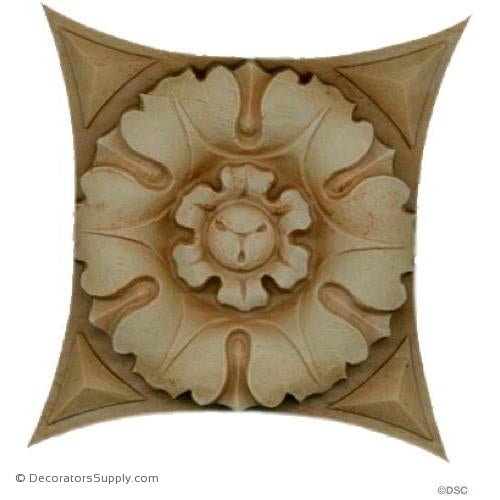 Square Rosette - 3 1/2 in. width-ornaments-for-woodwork-furniture-Decorators Supply