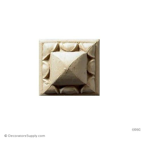 "Rosette - Square - 1 5/8 Wide X 1 1/8"" Relief-ornaments-for-woodwork-furniture-Decorators Supply"