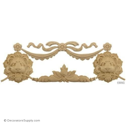 Swag w/Lion's Heads-Italian 6 3/4H X 14 3/4W - 1/2Relief-Decorators Supply