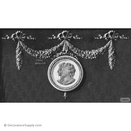 Swag with Cameo - Louis XVI 23H X 42 3/4W - 1/2Relief-applique-onlay-for-furniture-woodwork-Decorators Supply