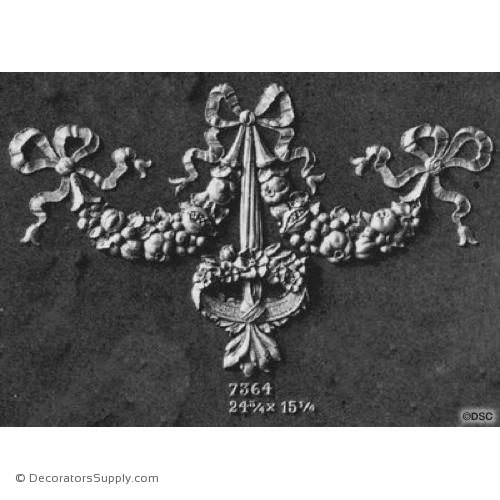 Swag-Louis XVI 15 1/4H X 24 3/4W - 5/8Relief-applique-onlay-for-furniture-woodwork-Decorators Supply