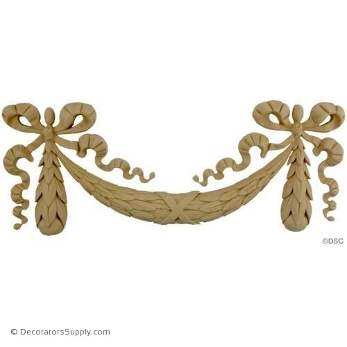 Swag-Louis XVI 8H X 20W - 3/4Relief-applique-onlay-for-furniture-woodwork-Decorators Supply