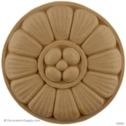 Rosette - Circle 4 3/8 Diameter-woodwork-furniture-ornaments-Decorators Supply