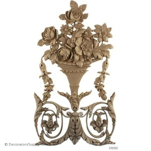 Rose Basket Applique for Wood-Louis XVI 14H X 8W - 5/8Relief-vertical-design-woodwork-furniture-Decorators Supply
