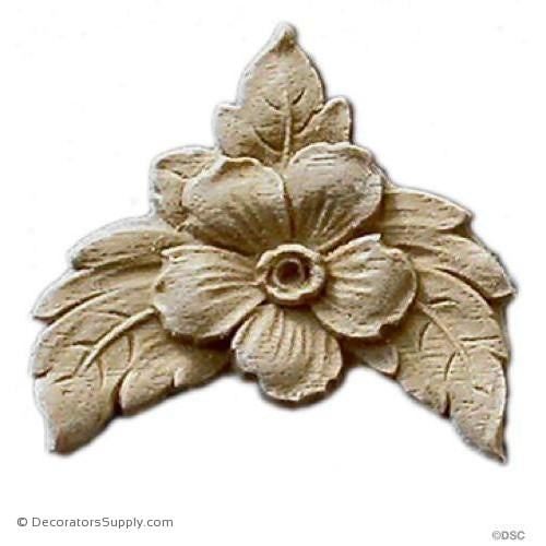 Small Flower with Leaves 1 7/8 High X 1 1/2 Wide-woodwork-furniture-ornaments-Decorators Supply