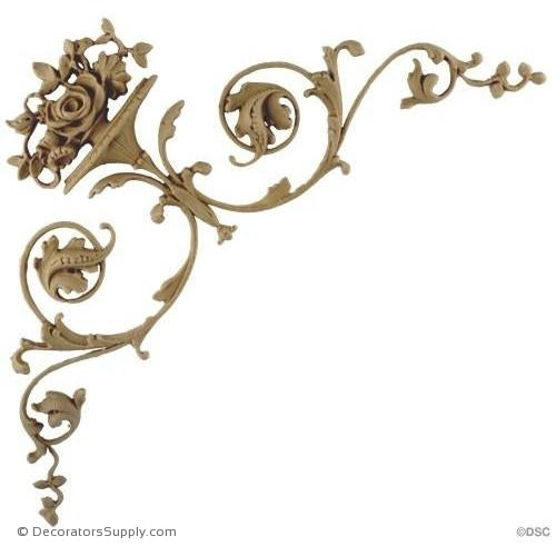 Flower Basket Spandrel-It. Ren.-10 3/4 H X 5 1/2 - 3/8Rlf-appliques-for-woodwork-furniture-Decorators Supply
