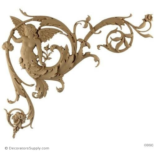 Spandrel Left Winged Angel-Ital. Ren. 13H X 14 3/8W - 5/8Rel-appliques-for-woodwork-furniture-Decorators Supply
