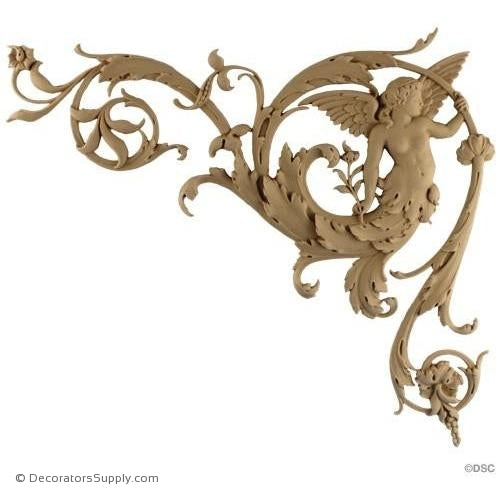 Spandrel Right Winged Angel-Ital. R 13H X 14 3/8W - 5/8 Rel-appliques-for-woodwork-furniture-Decorators Supply
