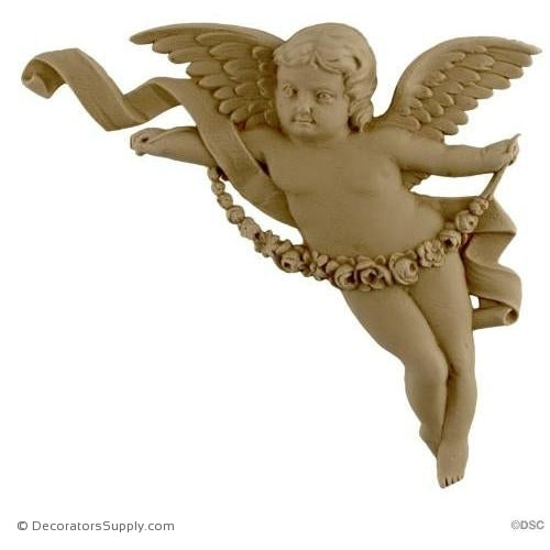 "Cherub - Spandrel Right - 6 1/4 H X 7"" W - 11/16Relief-historic-carving-library-victorian-styles-Decorators Supply"