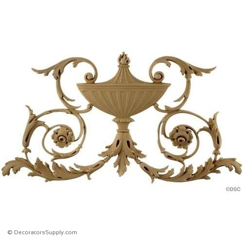 Basket with Scrolls-French Ren. 6 5/8H X 11 3/4W - 3/8Rlf-ornaments-for-furniture-woodwork-Decorators Supply