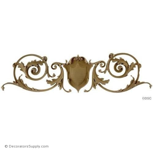 Shield with Vines - Ital. Ren. 4 5/8H X 16W - 3/8Relief-ornaments-for-woodwork-furniture-Decorators Supply