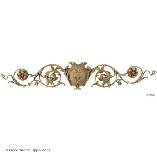 Shield with Scrolls French Ren. 3 1/2H X 18 1/2W - 1/2Relief-ornaments-for-woodwork-furniture-Decorators Supply