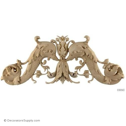 Fish Design - Ital. Ren. 6 3/4H X 16 1/4W - 3/4Relief-ornaments-for-woodwork-furniture-Decorators Supply