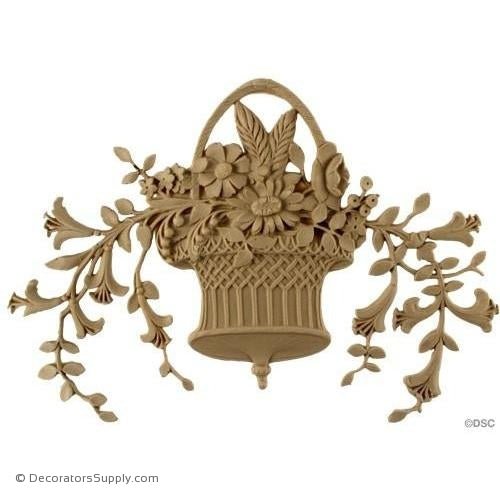 Floral Basket-Louis XVI 8H X 10 5/8W - 5/16Relief-ornaments-for-furniture-woodwork-Decorators Supply