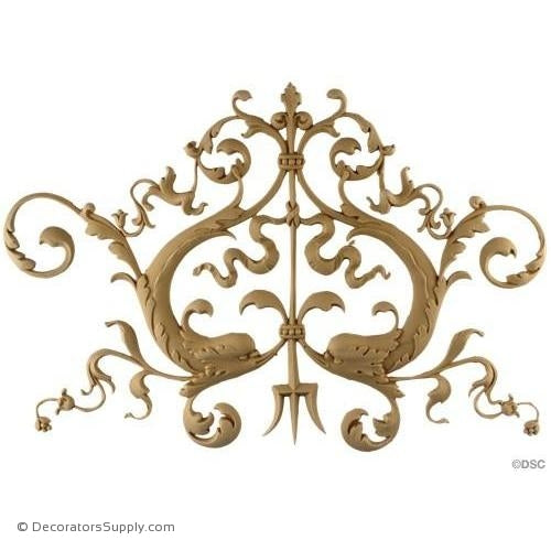 Fish Scrolls - French Ren. 11 1/4H X 15 1/2W - 3/8Relief-vertical-design-woodwork-furniture-Decorators Supply