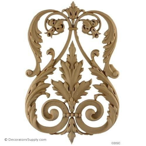 Acanthus Scroll Design - Empire 12H X 8W - 3/4Relief-vertical-design-woodwork-furniture-Decorators Supply