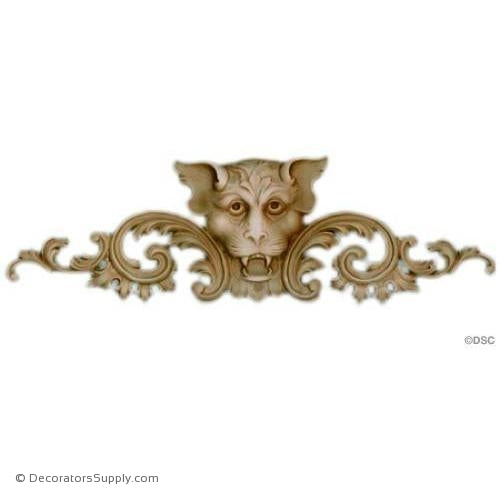 Gargoyle Cartouche - Louis XV 5H X 15 5/8W - 5/8Relief-Decorators Supply