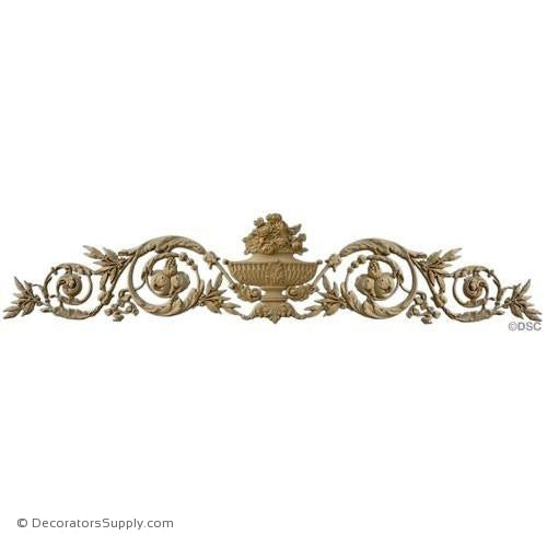"Floral Cartouche-Louis XVI - 12"" H X 54 3/4"" W - 1 "" Relief-ornaments-for-woodwork-furniture-Decorators Supply"