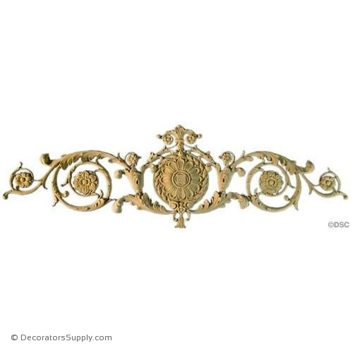 Cartouche-Ren. 15H X 48 1/2W - 1/2Relief-appliques-for-woodwork-furniture-Decorators Supply