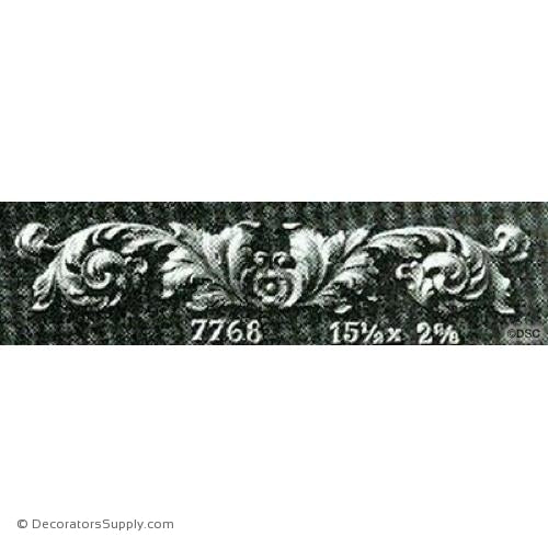Leafy Scroll Design French 2 5/8H X 15 1/2W - 3/8Relief-ornaments-for-woodwork-furniture-Decorators Supply